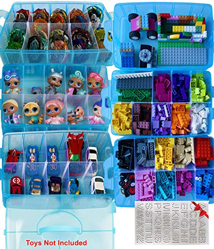 HOME4 Hanging LOL Toy Storage Organizer Blue 40 Clear View Pockets Cars Beyblade Hot Wheels and More Compatible with Small Toys Dolls Roll Up for Easy Storage
