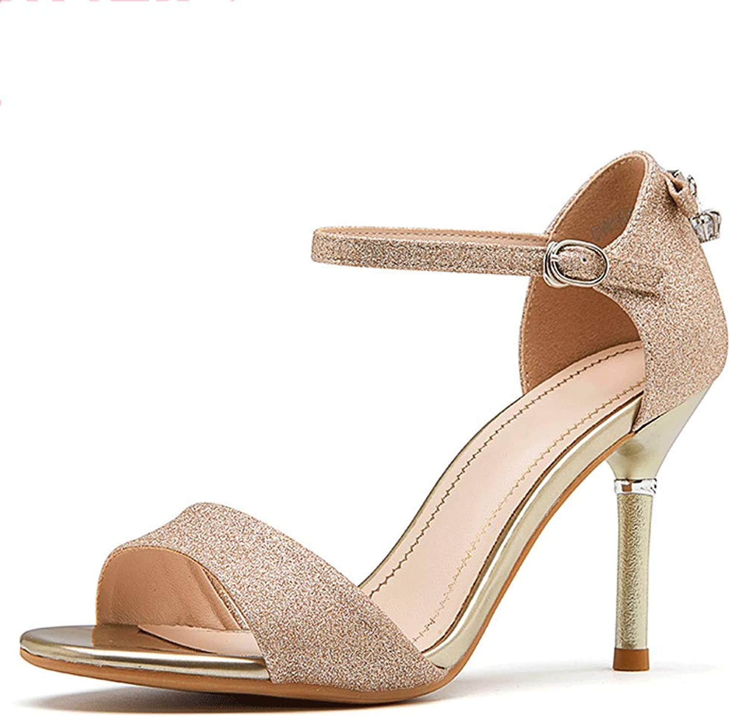 Women's Shiny High Heel Stiletto Heel Cool shoes (color   gold, Size   EU37 UK4.5-5 CN37)