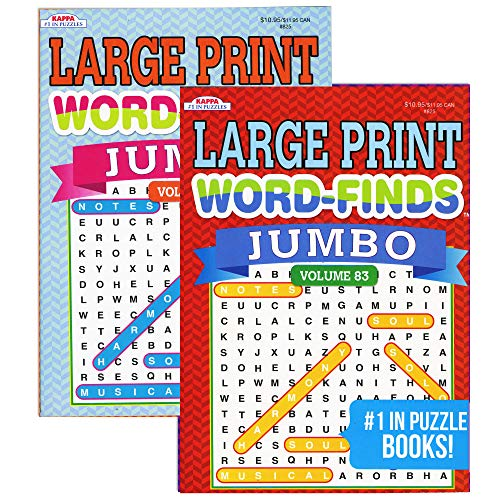 Kappa Jumbo Large Print Word Finds Puzzle Book 2 Titles, Word Search Find Words Books for Adults Teens, Training Learning with Game, 2-Pack
