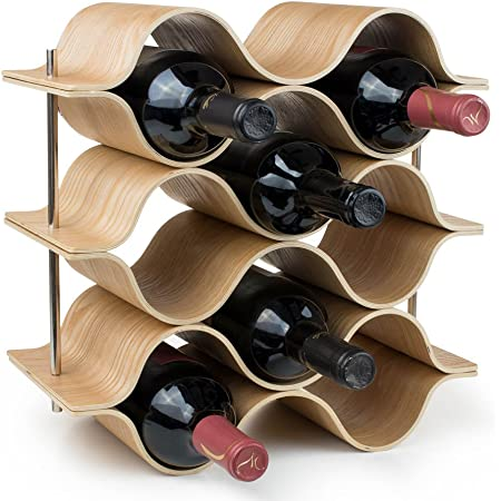 Amazon Com Brever 8 Bottle Wooden Wave Wine Rack Freestanding For Table Bar Or Counter Modern Minimalist Design Easy Assembly Sweet And Dry Wines For Small Home Wet Bar Home Kitchen