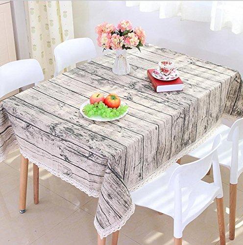 Kunst van de pastorale hout en linnen imitatie schors streep weg tafelkleed (Koop een krijgen een gratis)