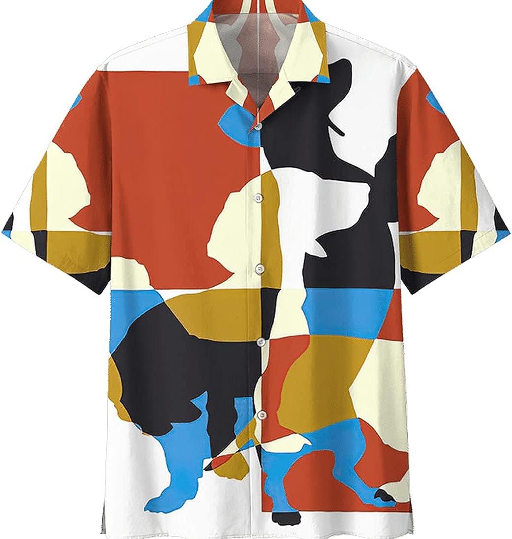 Dachshund Hawaiian Shirts for Men Women - Dog Casual Aloha Beach Shirt Button Down Collection 2 Size