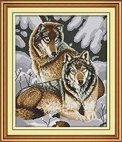 Joy Sunday クロスステッチキット 14CT スタンプ刺繍キット 正確なプリント刺繍 - 雪の狼 44×52cm