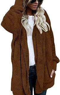 ThusFar Women Hooded Cardigan Fluffy Fleece Coat Open Front Jacket Outwear Pockets