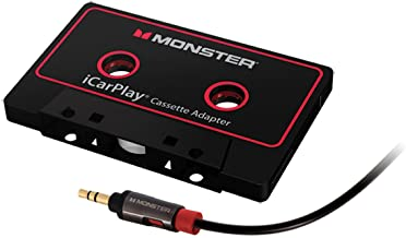 Monster Aux Cord Cassette Adapter 800 - iCarPlay for Car Tape Deck, Auxiliary To Dashboard, MP3 Player, iPod and iPhone - 3 ft Black Cable