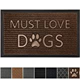 GRIP MASTER Durable All-Natural Tough Rubber Doormats, 29x17 Size, Waterproof Boots Scraper Mats, Heavy Duty Indoor Outdoor Door Mat for Winter Snow, Low-Profile Easy Clean, Brown Must Love Dogs