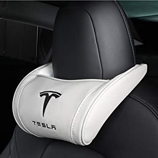 Coolsport 1PC Genuine Leather Hanging Car Seat Pillow Neck Support Head Rest Headrest Cushion Pad fit Tesla Accessories (W...