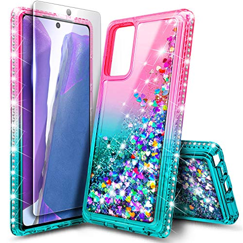 E-Began Galaxy Note 20 Case with Tempered Glass Screen Protector, Sparkle Glitter Flowing Liquid Floating Quicksand Shiny Bling Diamond, Durable Girls Cute Case for Samsung Galaxy Note 20 (Pink/Aqua)