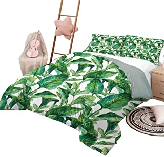 Juego de funda nórdica Leaf Luxe Bedding Juego de colcha acolchada de 3 piezas Juego de colcha romántica Isla de vacaciones Hawaianas Plátanos Hawaianos Imagen en color de agua Tamaño completo Verde o