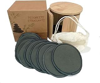 Tampons démaquillants lavables, 16 tampons réutilisables en coton de bambou noir, cadeau de pochette en bambou, sac pour m...