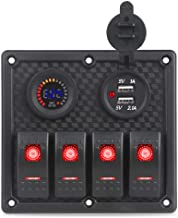 WATERWICH 4 Gang Marine IgnitionToggle Rocker Switch Panel Waterproof with 12V-24V LED Digital Colorful Voltmeter 3.1A Dual USB Charger Socket Adapter For Car Boat Truck SUV (3.1A+Red Voltmeter)