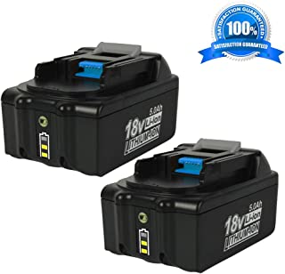 2Pack 5.0Ah BL1850B 18V Battery Replacement for Makita 18-Volt LXT-400 BL1850 BL1830 BL1840 BL1850B BL1860 Lithium ion Battery with LED Indicator