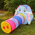 YANX 2 in 1 Childrens Kids Tent Set Indoor / Outdoor Pop Up Play Tent with Tunnel Elephant Game House Toy Tent Baby Kids Crawling Play Tent - Elephant