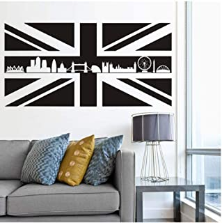 oppsq Britain UK Flag Map Wall Stickers England Landmark Buildings Silhouette Removable Mural DIY Wallpaper Room Office Decal 115 58Cm