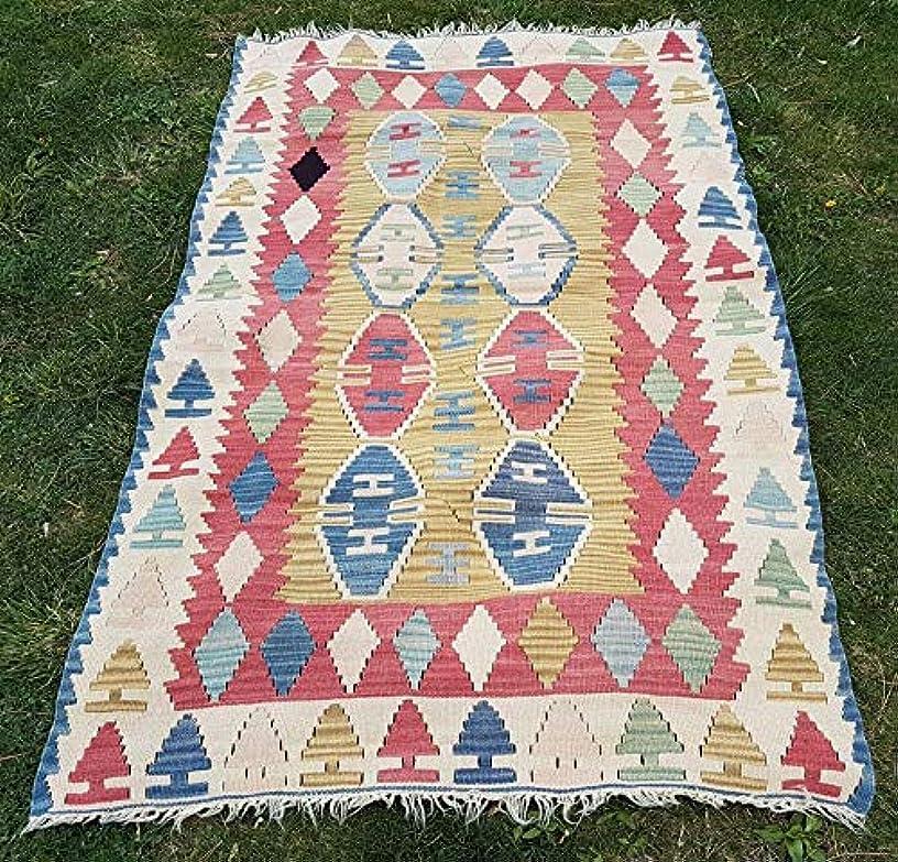 Handmade Tribal Turkish Kilim Rug, Small Sized Flatweave Kilim Rugs, Ethnic Area Rug Pastel Color Wool Kelim 3'5'' X 5'4'' (105 x 162 Cm)