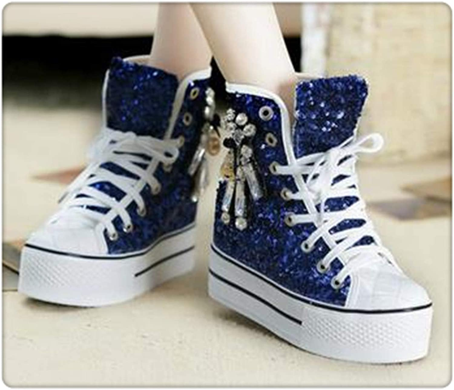 LUSDO& Sequins Canvas shoes Womens 2019 Spring and Autumn Diamond Lacing-up Casual shoes High Top Sneakers Women bluee 6