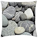 LESGAULEST Throw Pillow Cover (18x18 inch) - Rocks Pebbles Maine Stone Nature Relaxation