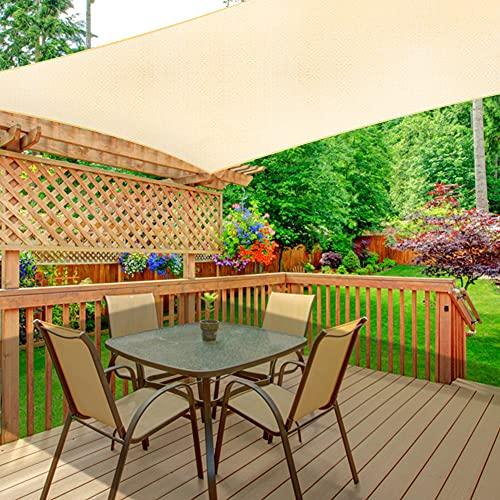 WOKKOL Sonnensegel, Sonnensegel Rechteckig, Sonnensegel Garten, Sonnenschutz Balkon, Überlegene Reißfestigkeit, 90% UV-beständig, Atmungsaktiv, 185 g/㎡ HDPE mit Dichte, für Terrasse/Garten(3M x 4M)
