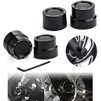 Pack 4 Black Front Rear Axle Nut Cover Axle Caps Bolu for 883 1200 Xl Dyna Fatboy Street Bob Super Glide V-Rod Softail