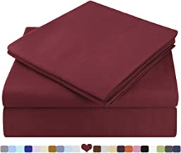 HOMEIDEAS Bed Sheets Set Extra Soft Brushed Microfiber 1800 Bedding Sheets - Deep Pocket, Hypoallergenic, Wrinkle & Fade Free - 4 Piece(Queen,Burgundy)