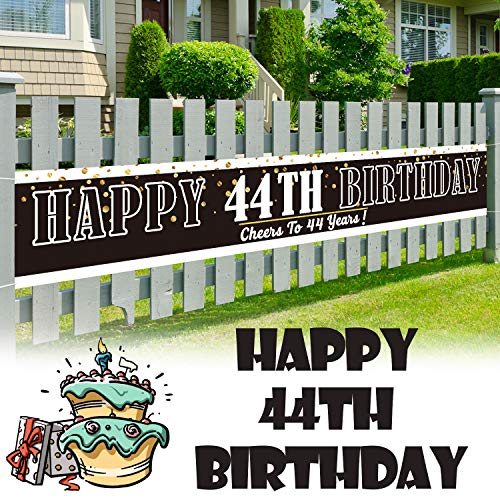 LINGPAR 9.8 x 1.6 ft Large Sign Happy 44th Birthday Banner - Cheers to 44 Years Old Decor