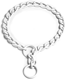 Platinum Pets 4mm Coated Chain Dog Collar 26-Inch, Pearl White