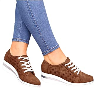 Padaleks Women's Leather Loafers Slip On Platform Wedges Sneakers Hollow Out Breathable Walking Shoes Lace up