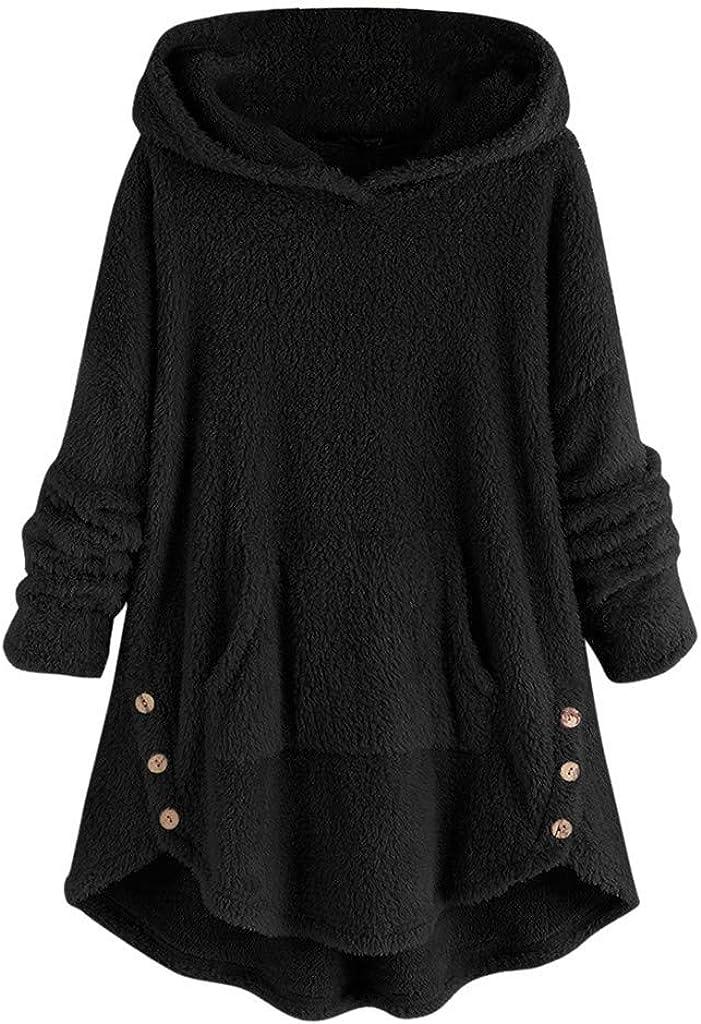 Hoodies for Women, Misaky Autumn Winter Loose Plush Buttons Irregular Hem Pocket Long Sleeve Pullover Sweatshirt