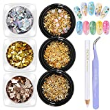DANNEASY 6 Boxes 3D Nail Art Rhinestones Kit Gold Nail Studs Nail Charm Colorful Glass Nail Sequins Manicure DIY Decoration With 1Pc Curved Tweezers And Wax Pen