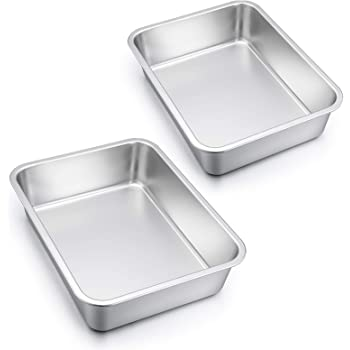 Lasagna Pan Set of 2, E-far Rectangular Deep Cake Baking Pans, 12.75 x10 x3.2 Inches Roaster Baking Dish Stainless Steel, Non-Toxic & Heavy Duty, Dishwasher Safe