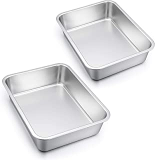 Lasagna Pan Set of 2, E-far Rectangular Deep Cake Baking Pans, 12.75 x10 x3.2 Inches Roaster Baking Dish Stainless Steel, ...