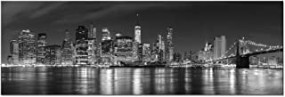 Wieco Art New York Manhattan Night View in Black and White Giclee Canvas Prints Modern..