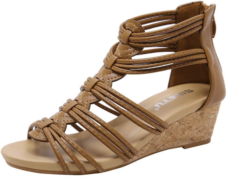 Ghssheh Caopixx Women's Summer Lace-Up Open Toe Ankle Strap Flat Leopard Retro Peep Toe Gladiator Sandal Beige US 6