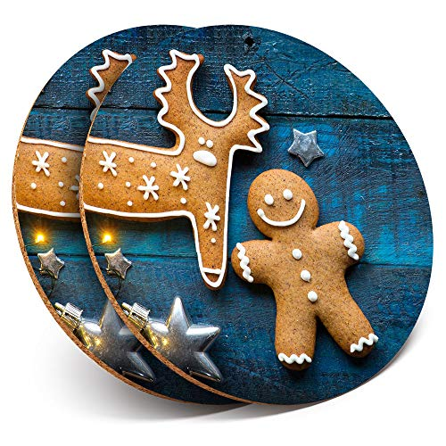 Destination Vinyl ltd Great Coasters (Set of 2) Round with - Gingerbread Man Christmas Reindeer Drink Glossy Coasters/Tabletop Protection for Any Table Type #14852