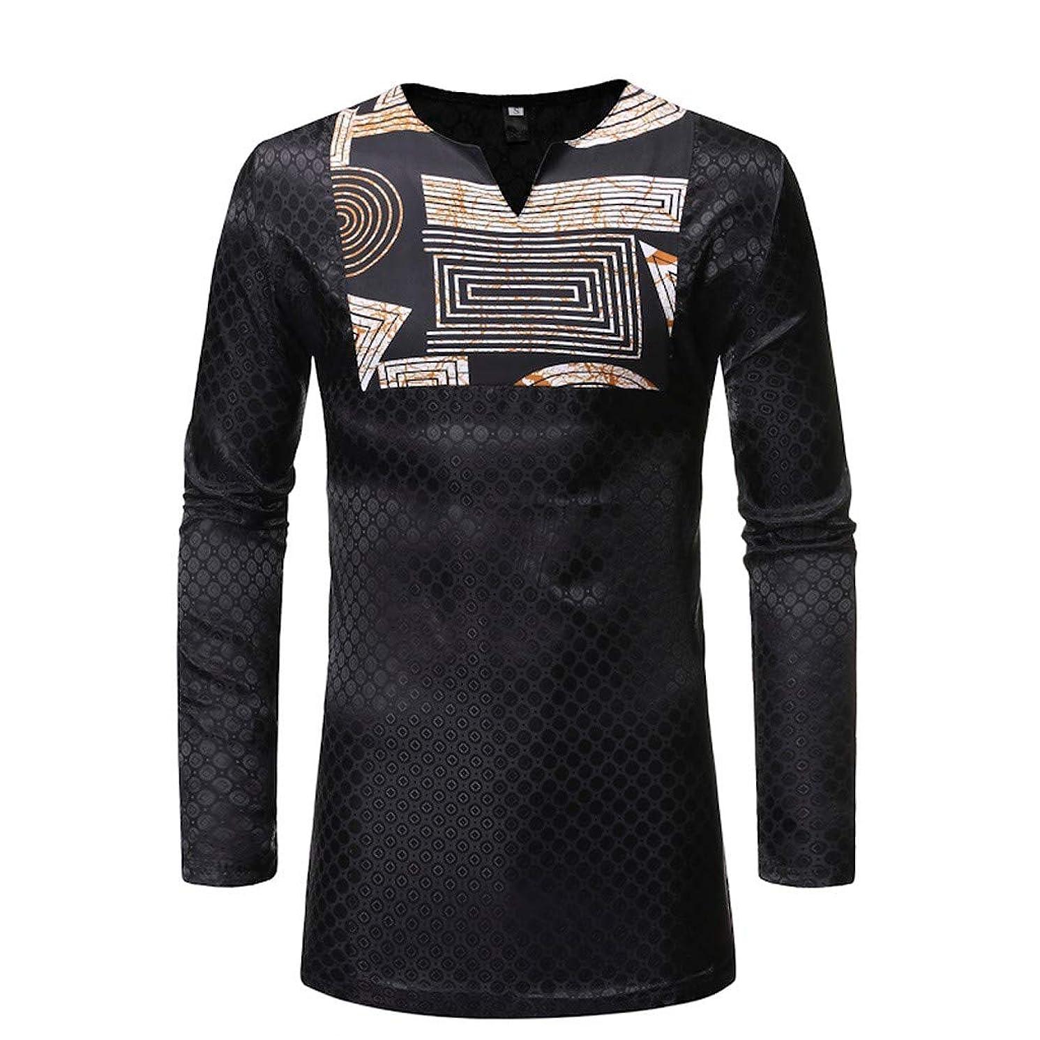 nightfall Mens African Clothing Tribal Printed Long Henley Shirt Traditional Ethnic