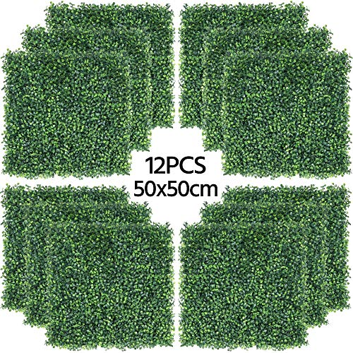 Photo of Yaheetech 50x50cm Artificial Boxwood Decorative Fences Topiary Plastic Panel Ivy Screening Hedge Fence for Home Decoration Garden Oranments Indoor & Outdoor Green 12 Pcs