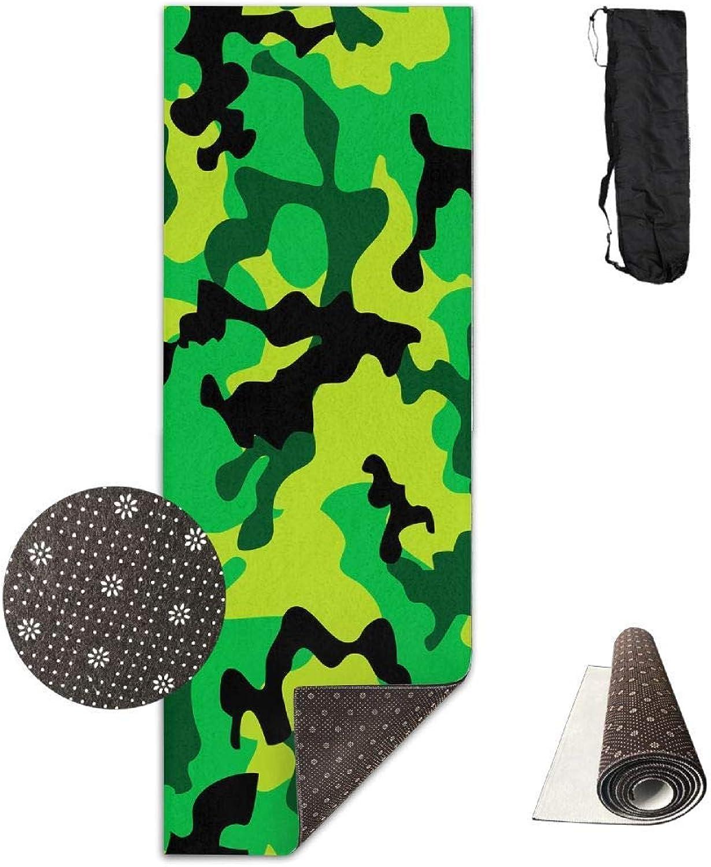70Inch Long 28Inch Wide Comfort Velvet Yoga Mat, Green Jungle Mat Carrying Strap & Bag