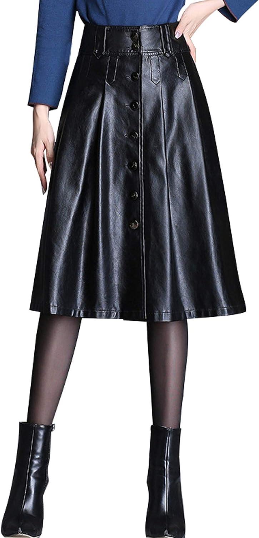 chouyatou Women's Elegant High Waist Button Front A-Line Midi Faux Leather Skirt