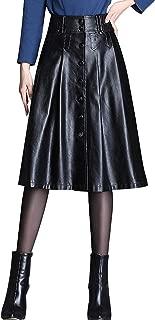 Women's Elegant High Waist Button Front A-Line Midi Faux Leather Skirt