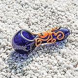 Octopus Tube Glows in the Dark, piccolo cucchiaio di vetro Pipa resistente al calore inodore Forma tascabile Grosso bel regalo di lucentezza per padre, marito e collezionista Nero