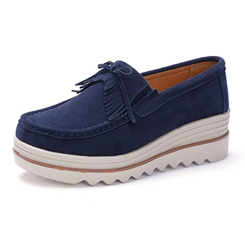 791d870e7f0 Rainrop Women Platform Slip On Loafers Shoes Comfort Suede Moccasins  Fashion Casual Wedge Sneakers 35-