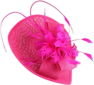 Women Fascinators Pillbox Hat, Feather Mesh Hair Clip Headband Wedding Party Hat Cocktail Tea Party Headwear,Rosered