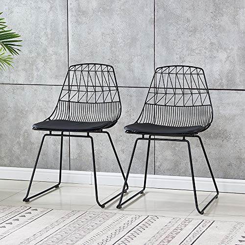 BonChoice Set of 2 Lucy Wire Chair Style Side Chair Dining Chairs with Cushion for Dining Room Coffee Shop Restaurant Simple Industrial Design Accent Chair Black