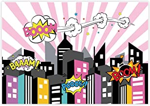 Allenjoy 7x5ft Supergirl Party Backdrop for Photo Booth Photography Pictures Superhero Super Hero Girl City Buildings Girls Birthday Party Event Banner Decor Studio ackground Baby Shower photocall