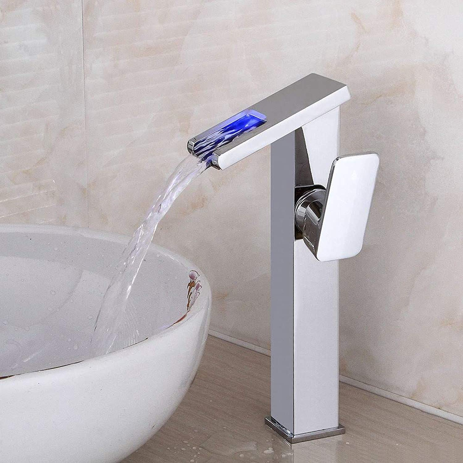Chrome-Plated Brass Kitchen Faucet Led Waterfall Faucet Above Counter Basin Hot and Cold Faucet Bathroom Single Hole Copper Faucet