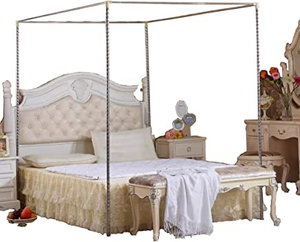 KingKara Canopy Bed Mosquito Netting Stainless Steel Frame/Post FULL/QUEEN Size
