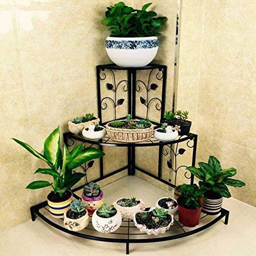 Plante Fleur support support de pots de fleurs fer Art 3 étages d'angle Échelle de jardin Intérieur/extérieur de style européen, 3 couleurs, 60 cm*65 cm/75 cm*85 cm (couleur : blanc, taille : S), blanc