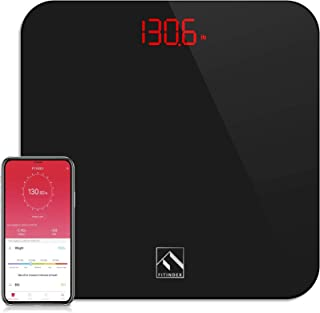FITINDEX Smart Digital Body Weight Scale, Bluetooth BMI Bathroom Scale with Smartphone App, Step-on Technology, Sturdy Tem...