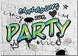 12 EINLADUNGEN zum Geburtstag - PARTY Einladung im Graffiti Style - Einladungskarten Kindergeburtstag