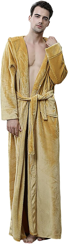 XIANGYUNLAI Men Plush Fleece Robe with Hood, Long Soft Warm Bathrobe with Pockets, Microfibre Ankle Length Nightwear Morning Robe,Yellow,M